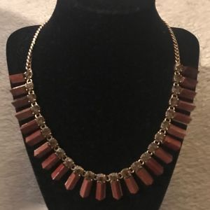 J.CREW MIXED PRISM NECKLACE BROWN GOLD B5419